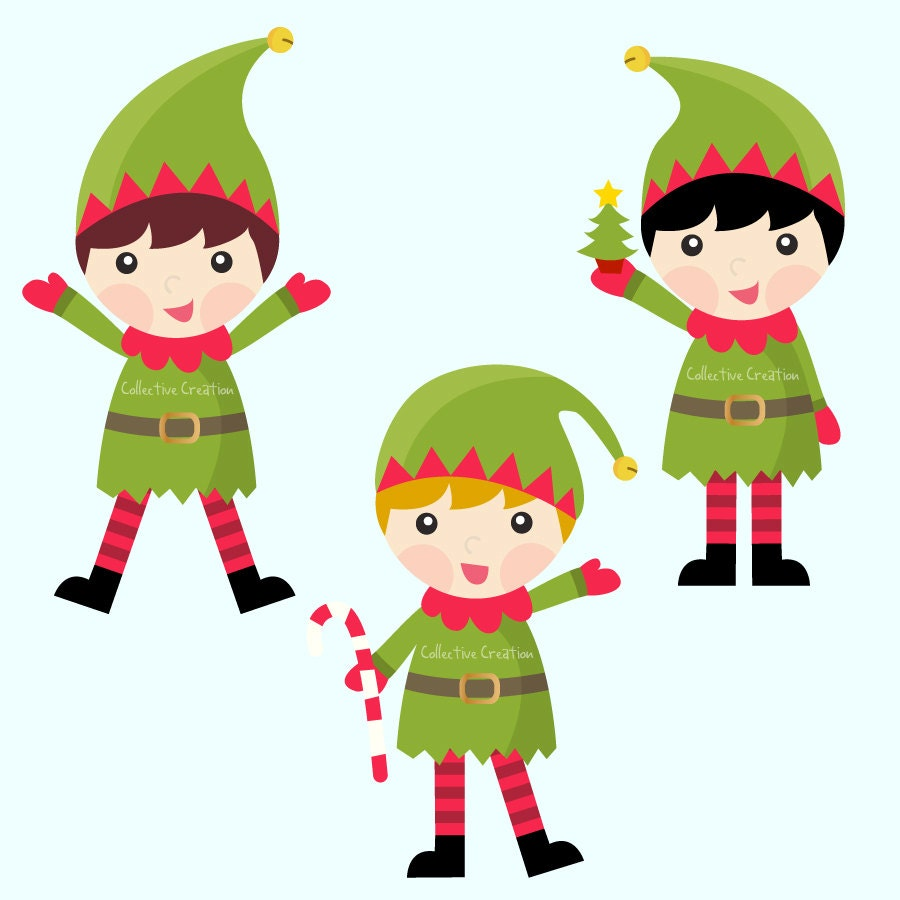 Christmas Elves Digital Clipart Personal by CollectiveCreation
