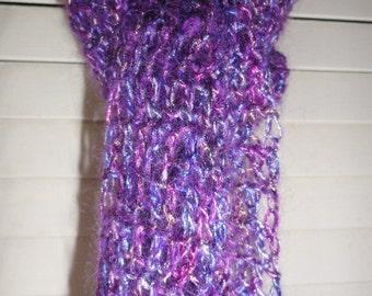 Grape Purple Lacy Beaded Scarf