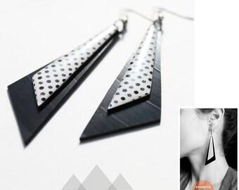 recycled record dangle earrings black and white earrings geometric vinyl earrings rockabilly earrings polka dot earrings pin up jewelry
