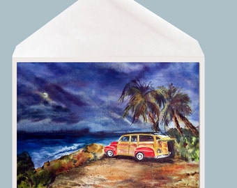 Classic Car Watercolor Art Greeting Card by Dotty Reiman - option to add personal message inside card!