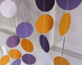 Fall Garland, White, Purple, and Orange Circle Garland, Thanksgiving Garland, Fall Decorations, Back to School Decor