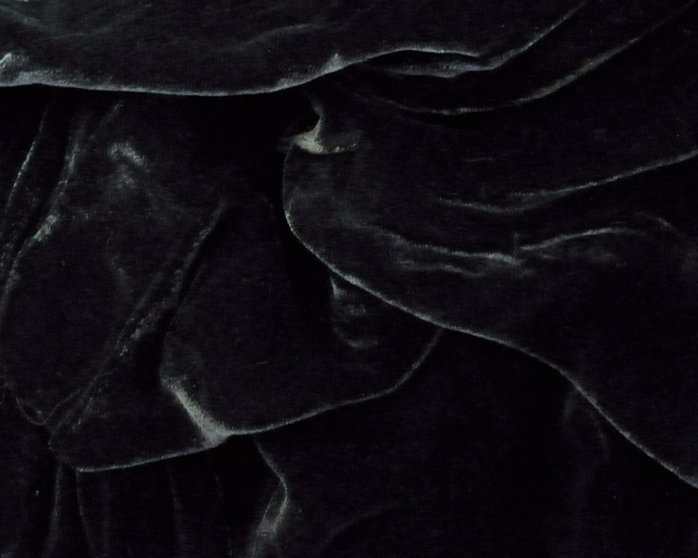 Black Velvet Fabric Large Scrap by sewsewfabrics on Etsy