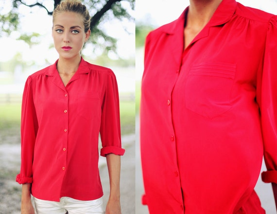 Vintage 1970s Bright Red Button Down Collar Blouse