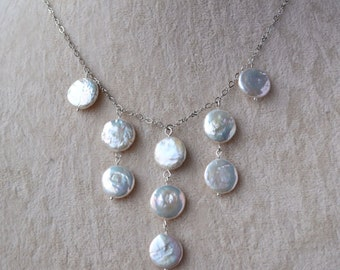 bubble necklace,wedding necklace,Coin Pearl Necklace,pearl necklace,Wedding Party,Pearl Jewelry