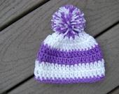 Purple and White Hand Crocheted Beanie Hat