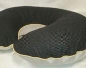 Boppy Cover - Black & White Polka Dot with Yellow Cording