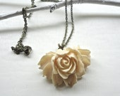 Ivory Pendant Necklace - Gorgeous Flower on Bronze Chain