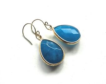 Blue Teardrop Earrings - Large Gold Framed Deep Blue Stones - Handmade Wedding Jewelry