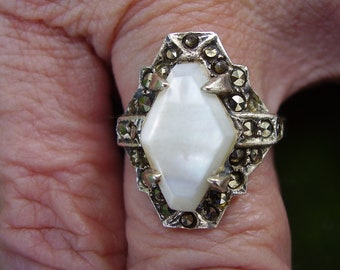 Vintage Art Deco style Sterling Silver Marcasite and Mother of Pearl Ring