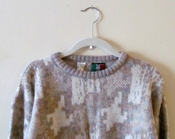 80s Abstract Sweater S M L 38 Bust