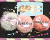 Faux rabbit fur ball dust cap in white-grey, pink and peach with pastel heart beads iphone 4 4s 3.5mm ear cap dust dock plug phone