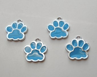 10 Paw enamel charms in turquoise blue & silver finish dog paw cat paw 18x16mm DB09829