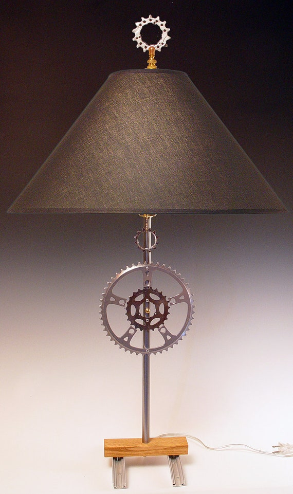 Sale 50% off. Table lamp with recycled bike sprocket gears and rim ...