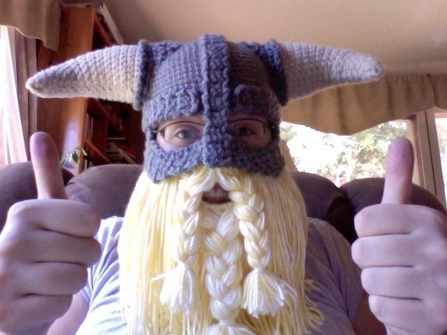 Free Crochet Patterns For Viking Hat : CROCHET PATTERN PDF Skyrim Inspired Viking Helmet With