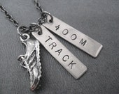 RUN TRACK 400 METER Necklace - Track Running Necklace on Gunmetal chain - Track Jewelry - 400m - 400 m - 400 meters - Track Jewelry