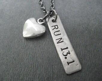 LOVE to RUN 13.1 with Puffed Heart - Half Marathon Running Necklace on Gunmetal chain - Run Gift - Running Jewelry - First 13.1 - First Half
