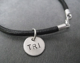 TRI Triathlon Bracelet - Sterling Silver Charm on Leather with Sterling Silver Plated Clasp - Leather Triathlon Swim Bike Run Bracelet