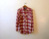 Mens Tall Size Western Shirt with Pearl Snaps / 80s Cowboy Rodeo Rockabilly