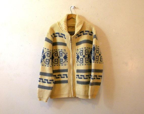 Big Lebowski Sweater / Mens XL Pendleton Cardigan / Southwestern Cowichan Style / EXC
