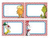 Set of 12 PRINTABLE Dr. Seuss Name Tags