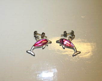 Pink Mother of Pearl Dolphin Earrings