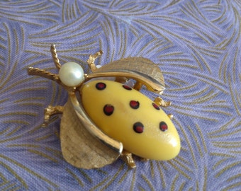REDUCED  Poka Dot Bug Brooch