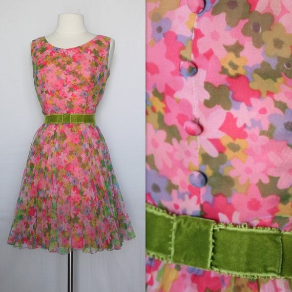 RESERVED FOR GESA 1960s Dress 60s Formal Floral Dress Bow