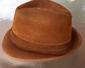 Vintage Union Made Suede Leather Fedora Mens OR Womens Indiana Jones Style Camel Color