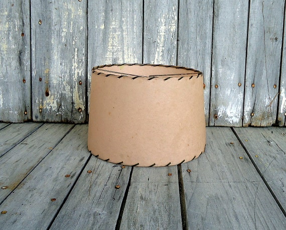 Lamp Shade Mid Century Brown Clip On Mod Modern Drum Tan Small Retro