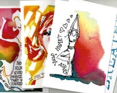 Set of 4 - 5 x 7 Art Note Cards (Yoga Inspired)