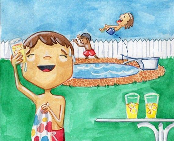 Summer Refreshment - 8x10 Illustration Print