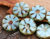 Picasso Czech glass beads Rustic Blue, flat, round - 13mm - 8Pc - 0390