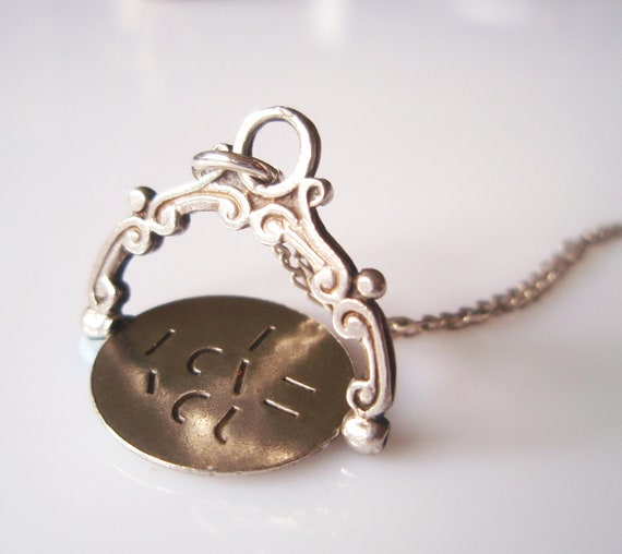Vintage Silver I LOVE YOU Spinner Charm Necklace