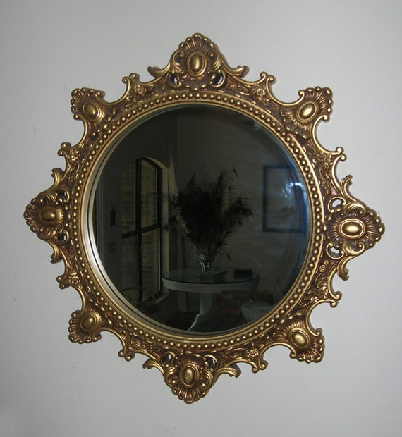 Ornate round mirror large gold by burlapnation on etsy for Large round gold mirror