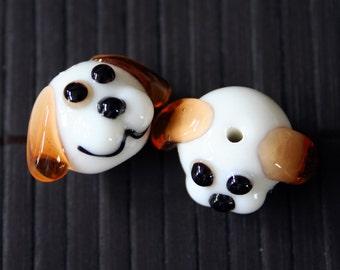 Dog Design Lampwork Glass Beads(2 beads pack) L01012