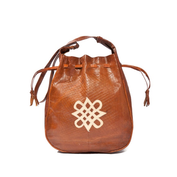 Vintage Brown Tooled Leather Bag Hippe Boho Brown and Ivory Women's Purse