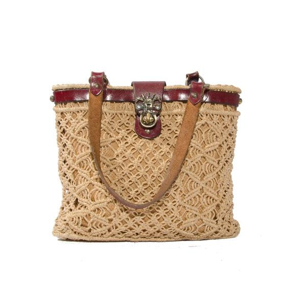 Vintage Etienne Aigner Handbag Macrame Purse Oxblood Leather Small Hemp Bag