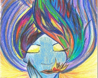 "Supernovae Original Art PRINT ""Spirit"" 8""x10"" Ink Pencil FREE Shipping Abstract Human Face"