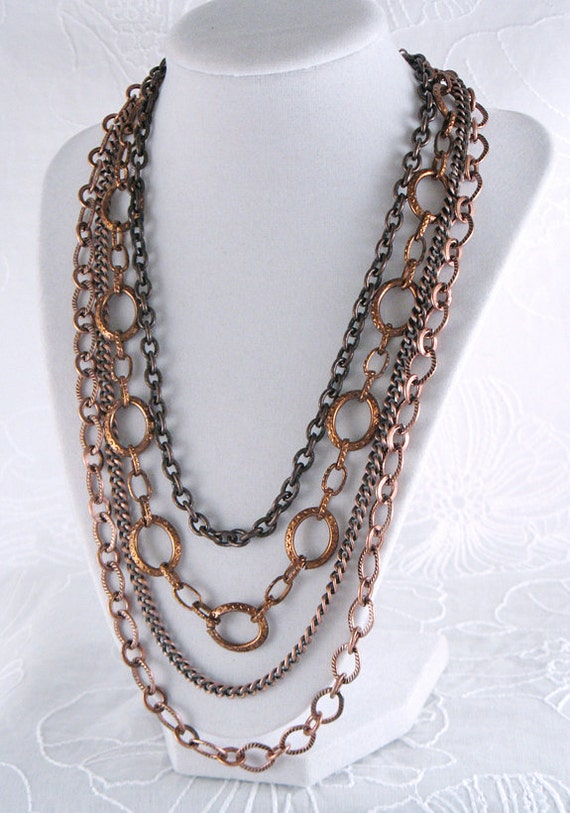 Copper Multi-Chain Necklace - Textured Chains - Autumn - Fall - Holiday