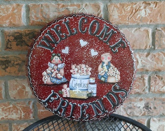 Gingerbread Welcome Friends Metal Sign...Country Decor...Kitchen Decor