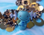 Kawaii Wooper Pokemon Necklace with Gold Sequins and Black and Gold Color Beads / Jewelry