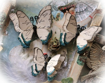 Reneabouquets Butterfly Set - Vintage Teal Romance Butterflies Scrapbook Embellishment Tag, Card, Mini Album, Wedding