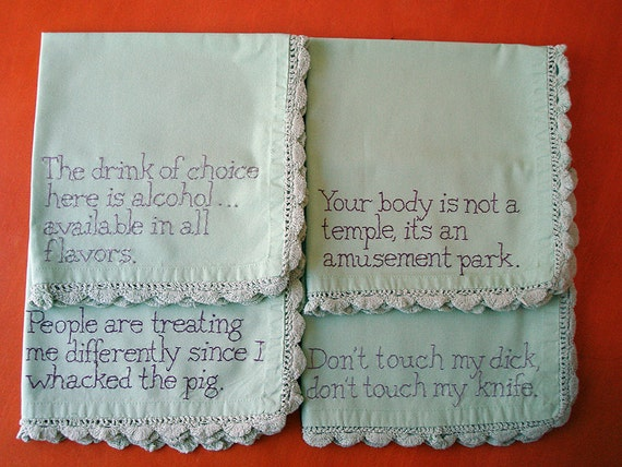 Hand Embroidered Napkins - Anthony Bourdain Quotes