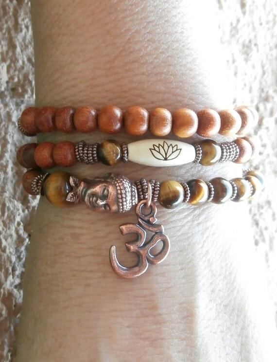 Om with Tigers eye, lotus, Buddha and Natural redwood Yoga wrap or necklace, Meditation bracelet, boho, free shipping