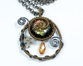 Sale - Steampunk Jewelry - Bronze and Blue Steel Wire Wrapped Necklace