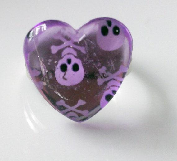 Purple skulls and hearts
