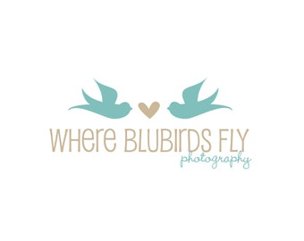 Premade Logo for Photographers and Small Crafty Boutiques Blue and Taupe Sparrows