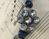 Rhinestone blues vintage button bracelet