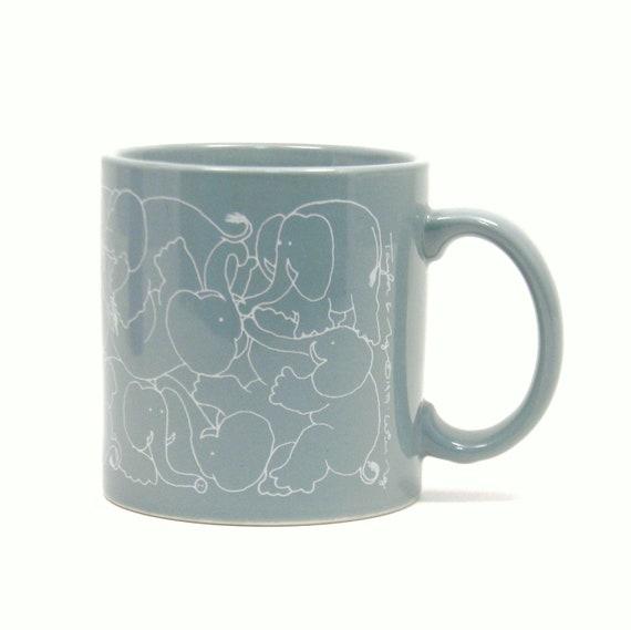 Elephant Orgy Mug, Vintage 1979 Taylor Ng Animates Coffee Cup
