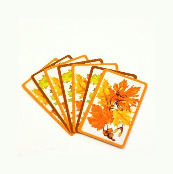 Fall Leaf Cards, Vintage 1960s Autumn Colors Double Deck